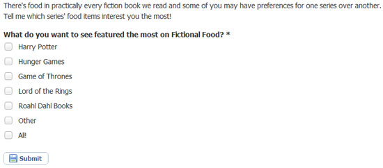 Facebook Poll: What do you want to see the most on Fictional Food?